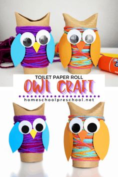 Fall Paper Crafts, Toilet Paper Roll Crafts, Toilet Paper Rolls, Owl Crafts Preschool, Preschool Activities, Kid Crafts, Halloween Crafts For Kids, Crafts For Kids To Make, September Kids Crafts