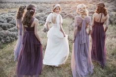 Pantone have spoken the 2018 colour of the year is Ultra Violet. Check out our shades of purple, navy & gold wedding inspiration for an opulent wedding colour scheme. Mix Match Bridesmaids, Lavender Bridesmaid, Purple Bridesmaid Dresses, Wedding Bridesmaids, Vestidos Vintage, Wedding Dress Shopping, Wedding Party Dresses, Color Mauve, Purple Hues