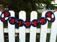 Personalized Felt Spiderman Boys Name Banner. $31.00, via Etsy.