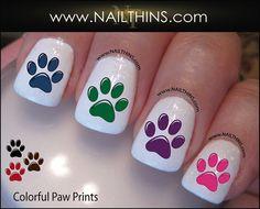 Colorful Paw Prints Nail Decal Colorful Dog Paw Nail by NAILTHINS, $3.50