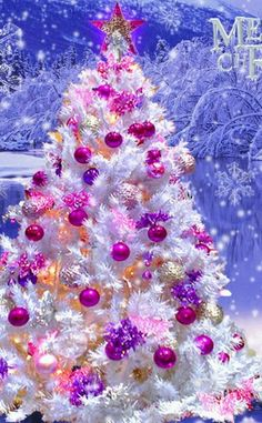 White pink and purple Christmas tree equals gorgeous