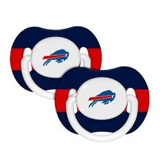"""NFL Baby Fanatic NFL Buffalo Bills Baby Fanatic 2-Pack Pacifiers by Baby Fanatic. $7.48. Silicone nipple on pacifier. 100% BPA and Phthalate free. Plastic and Silicone material.. These orthodontic pacifiers have been voted """"MVP?s"""" (Most Valuable Pacifiers) by Mom?s everywhere. Ages 3-6 months recommended. Baby Fanatic NFL Buffalo Bills Baby Fanatic 2-Pack Pacifiers. Save 75% Off!"""