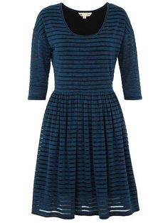 Striped jersey dress - perfect with opaque tights.