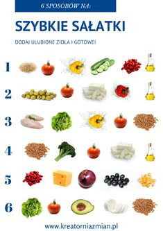 7 sposobów na pyszne sałatki - Kreatornia Zmian Diet Recipes, Vegetarian Recipes, Cooking Recipes, Healthy Recipes, Healthy Life, Healthy Eating, Healthy Food, Food Design, Health Diet