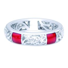 Sterling Silver Red Enamel Stackable Filigree Ring | Overstock.com Shopping - The Best Deals on Sterling Silver Rings