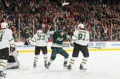 ST. PAUL, MN - JANUARY 21: Chad Rau #36 of the Minnesota Wild celebrates after scoring the first goal of his NHL career against the Dallas Stars during the game at the Xcel Energy Center on January 21, 2012 in St. Paul, Minnesota. (Photo by Bruce Kluckhohn/NHLI via Getty Images) Minnesota Wild Hockey, January 21, Espn, Nhl, Dallas, Career, Game, Stars, Celebrities