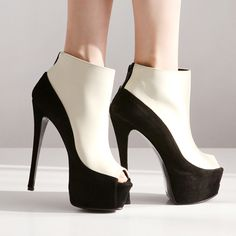 Attractive Peep Toe Patchwork Zipper High Heel Boots Black & White - www.lojasdobraz.com.br