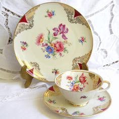 vintage tea cup trio tea cups and saucers teacup by minoucbrocante