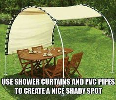 Clever, shade, shower curtain & pvc pipe, outdoor canvas would be stronger.