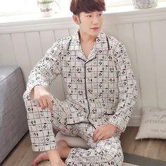 Gadpat Pajamas Men Cotton Long-sleeve Knitted Sleep Spring And Autumn Mens Pyjamas Lounge Men Pajama Set plus size M-4XL