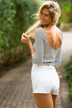 navy stripes and highwaisted white shorts topped with a loose pony