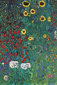 Garden with Sunflowers, by Gustav Klimt