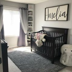 Name sign for nursery wood sign girl name sign boy name sign above the crib sign nursery name sign nursery room decor Nursery Wood Sign, Nursery Signs, Nursery Room Decor, Nursery Art, Dark Wood Nursery, Black Crib Nursery, Baby Elephant Nursery, Nursery Dresser, Nursery Shelves