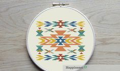 cross stitch pattern native ornament aztec geometric par Happinesst