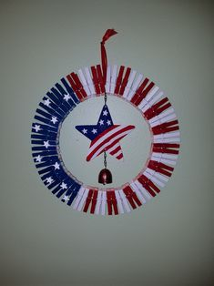 I'm so excited to share this craft with you, because it's one that I received from my Box Buddy. Well, a Box Buddy is someone you exchange the … Fourth Of July Decor, 4th Of July Decorations, Wreath Crafts, Diy Wreath, Jar Crafts, Wreath Ideas, Tulle Wreath, Burlap Wreaths, Wreath Making