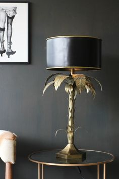 Palm Tree Table Lamp Tall Table Drum Shade with Metallic Palm Tree Sculpture - Beautiful Lighting De Decor, Tree Sculpture, Table Lamp, Unusual Table Lamps, Master Bedroom Lighting, Lamp Light, Tree Table, Floor Lamp, Gold Table Lamp