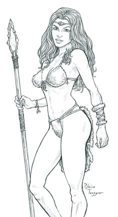 Cute Cave Girl by staino @DeviantArt #femme #adult #colouring