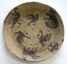 shallow coiled California Mission Indian basket c1960
