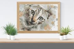Cross Stitch Pattern: watercolour domestic short hair cat kitten fur baby Stitchy Wonders - embroidery art chart download PDF Hand Embroidery Patterns, Embroidery Art, Cross Stitch Fabric, Cross Stitch Patterns, Watercolor Pattern, Watercolour, Short Hair Cats, Pattern Making, Cats And Kittens