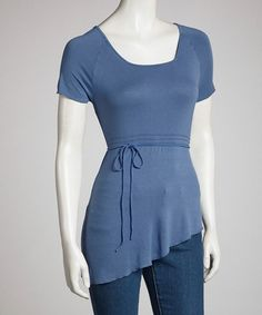 sky blue tops for women | ... Blue Sky Dark Blue Asymmetrical Hem Short-Sleeve Top on zulily today
