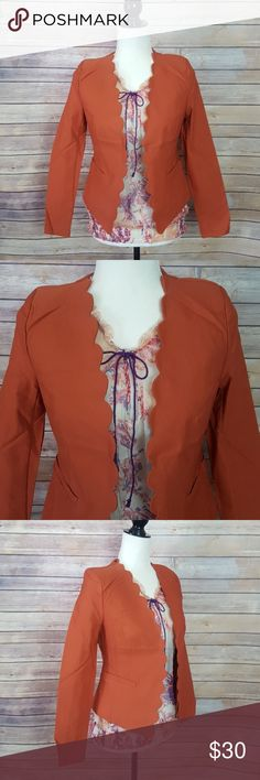 Hot & Delicious Burnt Orange Scalloped Blazer Gorgeous blazer that can be dressed up for work or styled cute with jeans! New with tags!  We have style available in size S, M, L Bundle 3 items to save 15% Follow us @mirror.image.trends Hot & Delicious Jackets & Coats Blazers