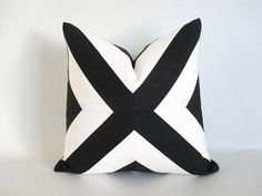 Pillow Cover Mitered X Black & White Stripes Indoor Outdoor