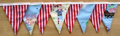 Treasure Island Pirate Fabric Bunting by MollyFelicityDesigns, £15.00
