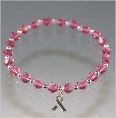 Breast Cancer Awareness Beaded Crystal Bracelet - Exquisite Handcrafted Beaded Jewelry by Vael Designs