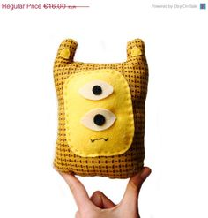 ON SALE little yellow monster plush by peutfeutre on Etsy, €12.80