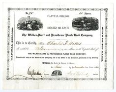 Wilkes-Barre and Providence Plank Road Co., 1853 Stock Certificate. - Archives International Auctions