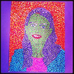 Pasfoto vergroten en beschilderen #pointillisme #zelfportret #plakkaatverf 2012/2013