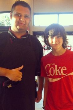 Chandler Riggs with fan