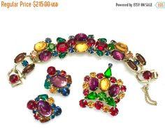Weiss Jewel Tone Demi Parure Bracelet Earrings by Vintageimagine