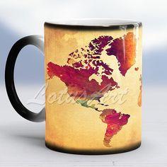 World Map Mug Color Changing Mug Travel Map World Map Watercolor Vintage Style Map Travel Memories #magicmug #giftmug #worldmapmug #worldmapart #travelart #giftforhim #giftforher