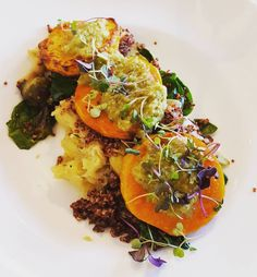 Vegan butternut squash, mashed potato, quinoa, spinach and Brussels sprout dish at NOLA! #veganNOLA *Most fine dining restaurants can accommodate vegans splendidly. I suggest calling ahead, to make sure you get a great vegan meal.
