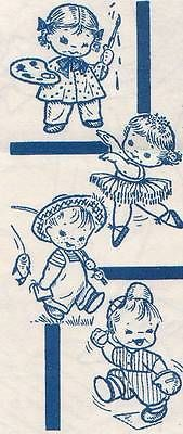 Orighinal Uncut Mail Order Designs - Vintage Hand Embroidery Busy Tots Transfers 7093 Original Quilt Bib Patterns