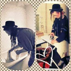 Boy George washing his clothes and ironing it too wow that was so cool to find this pic.