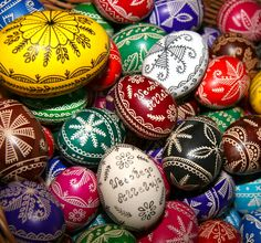 Polish Easter Pisanki Eggs made with beeswax and aniline dyes.
