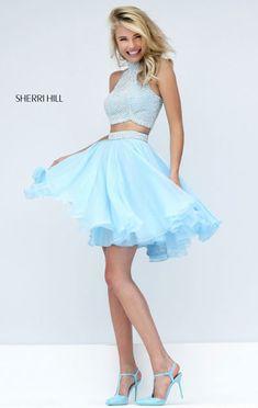 2016 Beaded Ivory/Light Blue Two-Piece Sherri Hill 50179 Short Round Prom Dresses