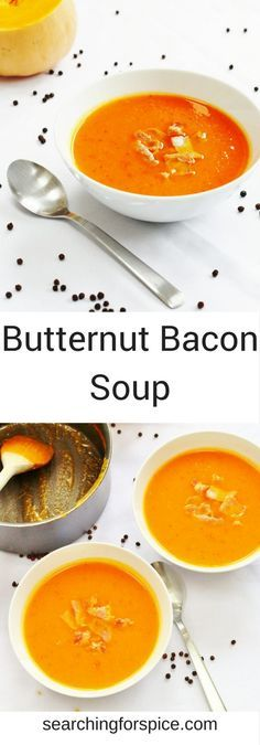This butternut bacon soup makes the most of seasonal butternut squash and is topped with crispy bacon pieces. A perfect autumn soup and great for batch cooking too. #butternutsquash #recipe #soup #comfortfood