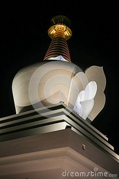 Photo about Top part of Benalmadena Stupa night view Picture taken in december Image of buddhist, modern, picture - 70321593 Benalmadena, December, Ceiling Lights, Stock Photos, Night, Building, Pictures, Top, Image