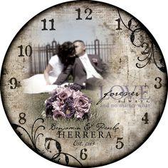 30 inch photo clock. Stunning wedding decor. by ForAllTimeClocks