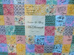 **THIS IS A MADE TO ORDER ITEM. Please see my shop announcement for current turnaround times. ********************************************* Instead of a book, your guests can sign in and leave you a message on a functional, cozy, keepsake quilt, with natural ingredients, handmade in America. THIS QUILT IS different from my other guest book quilts in that it has a large block in the very center of the quilt that features your names and wedding date OR anything that you want it to say. Quilt…