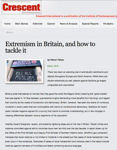 Extremism in Britain, and how to tackle it - Crescent by Adnan Oktar http://www.crescent-online.net/2016/03/extremism-in-britain-and-how-to-tackle-it-harun-yahya-5282-articles.html