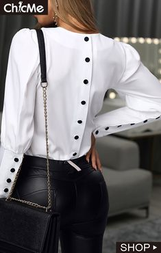 Solid Puff Sleeve Buttoned Design Shirt You are in the right place about Women … Girls Fashion Clothes, Girl Fashion, Clothes For Women, Womens Fashion, Stylish Dresses For Girls, Modest Dresses, Chic Outfits, Fashion Outfits, Classy Outfits
