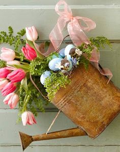 Vintage Watering Can With Tulips