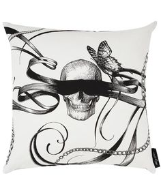 Masked Skull and Smoky Fish White Cushion, Rory Dobner
