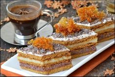 Karamelové rezy - Mňamky-Recepty.sk Romanian Desserts, Romanian Food, Romanian Recipes, My Recipes, Cake Recipes, Cooking Recipes, Food Cakes, Something Sweet, Cakes And More