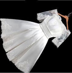 Find More Wedding Dresses Information about Short Wedding Dress Boat Neck Satin…