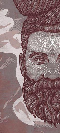 conscience, 2013 :: vector work by kevin hohler Art And Illustration, Illustrations Posters, Hipster Vintage, Beard Art, Drawn Art, Art Pop, Storyboard, Oeuvre D'art, Vector Art